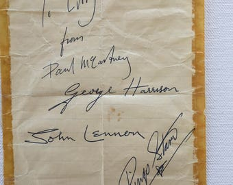 Authentic Beatles 4 Signatures, late 1962 Autographs, signed at NEMS,Liverpool, John, Paul, George and Ringo