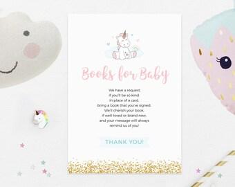 Baby shower book request card, Unicorn Books for Baby, Printable Book request card, Unicorn Baby shower, Unicorn party decor, Unicorn invite