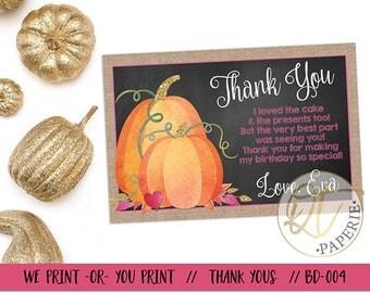 Pumpkin Thank You Card, Pumpkin Birthday Thank You, Pumpkin 1st Birthday Thank You, Little Pumpkin Thank You, Girl Pumpkin Thank You