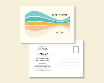 Personalized Save the Date, Postcard, Announcement Card, Retro, 70s, Beachy, Striped, Summer Wedding Card