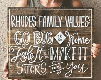 Family Values Sign | In This House Sign | Wood Sign | Custom Family Values Sign | Family Rules