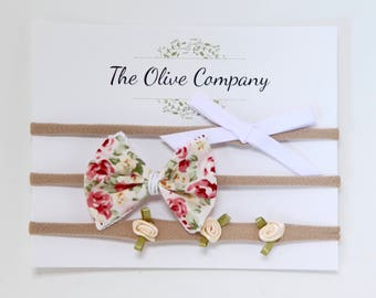 The Rosie - A collection of three handmade bows on nylon headbands or metal clips