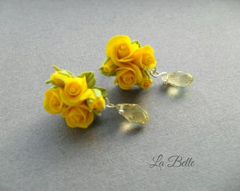 Studs Earrings with miniature yellow roses from polymer clay