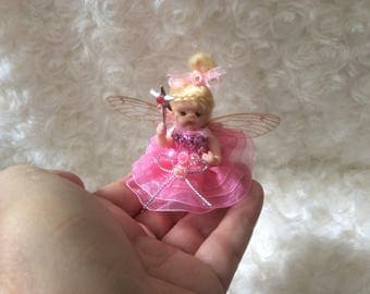 OOAK Polymer Clay Baby Fairy Sculpt - Guaranteed to make you smile! - Handmade by Sue Radford