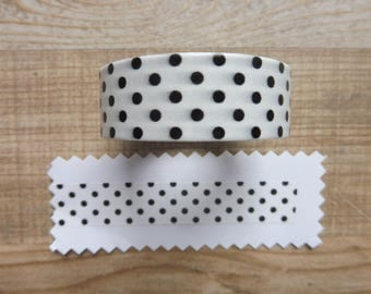 Tape/washi tape 10 cm 1.5 m white with black dots