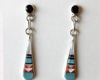 Zuni In-lay Dangle Earrings