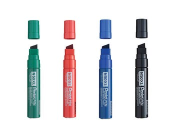 4 Assorted Colors FULL Set - Pentel N50XL Black,Blue,Red,Green Chisel Point XL Permanent Markers