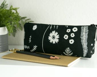 Pencil Pouch   Pen pouch   Pencil and Pen pouch   Black and white floral