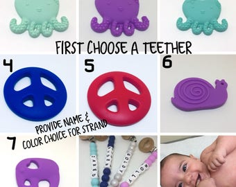 Octopus -peace sign - snail - elephant teethers - chew toys - silicone teether - bite toy - silicone beads - silicone letters - personalized