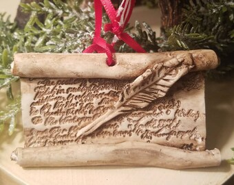 Clay Christmas Ornament,  Christmas Scroll Ornament, Quill and Scroll Ornament