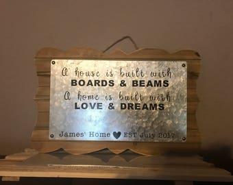 Custom Housewarming or wedding sign gift- Bar sign