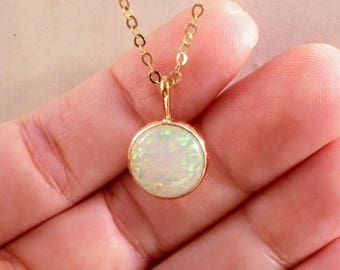 gold round pendant necklace, GOLD OPAL necklace, 14K Gold NECKLACE, white opal necklace, opal charm necklace, round opal necklace