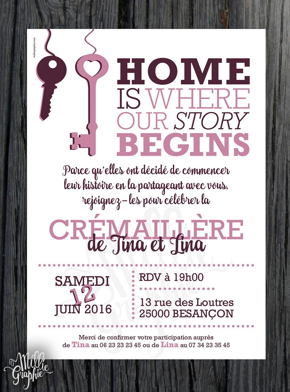Célèbre Faire-Part Crémaillère / Invitation Clé GN55