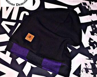 Beanie / Hat / Beanie / black / purple / tiles / T - 6 3T