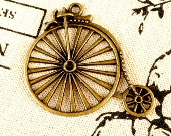 Penny Farthing Bicycle charm 3 antique bronze vintage style pendant bike charm jewellery supplies