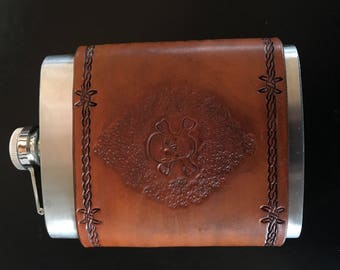 Custom hand tooled leather and aluminum flask