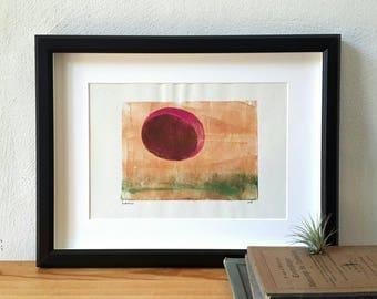 Sunset print, landscape scenery, monoprint art, monotype print, original artwork, contemporary art, print art, wall decor, abstract art