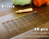 9 sizes Doll maker's Felting Needles Set ( 28 pcs) with Wooden Handle