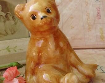 Vintage Hungarian porcelain figurine,bear cub ,handpainted