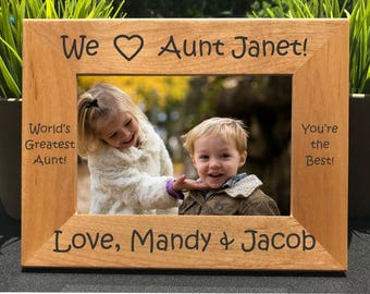 I Love my Aunt // Personalized Engraved Photo Frame // Picture Frame // Tia // Auntie // Amo a mi tia // We Love our Aunt // Gift