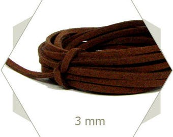1 m strap suede 3 mm Brown CS03