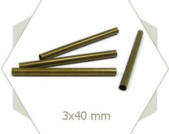 12 BB101 40mm bronze tube beads