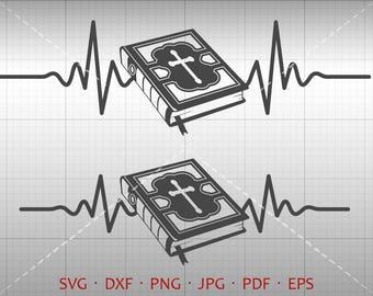 Heartbeat Holy Bible SVG, EKG Holy Bible Clipart Silhouette Cricut Cut File Vector Commercial Use