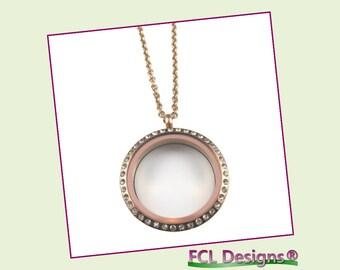 30mm CZ Rose Large Round Floating Charm Locket Necklace