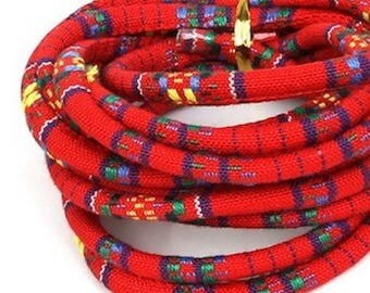 1 M Red cotton ethnic woven cord (5mm)