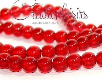 10 Red drop glass 8 mm beads