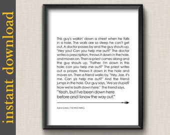 The West Wing Quote, printable wall art, digital download, I know the way out, inspirational quote, gift of support, office art, dorm art