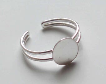 Sterling Silver Ring Blank Adjustable 9mm Round Pad x 1
