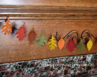 fall leaf garland felt garland thanksgiving decoration fall decoration felt leaves - Harvest Decor
