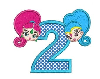 Shimmer and Shine 2nd Birthday Applique Design 3 sizes instant download