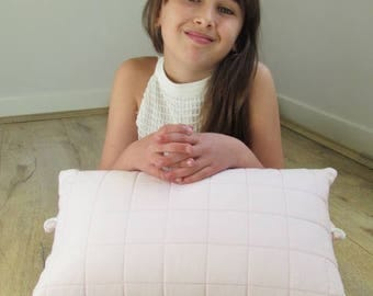 Pink cushions, girl, comfortable, soft, quilted, pastel, scandinavian
