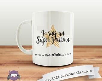 Mug personnalisable  recto  pour Super parrain ! Cadeau original