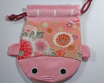 Fugu fish Japanese sewing storage pouch pink