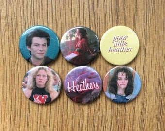 heathers, set of 6 badge buttons