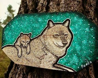 Wolf spirit guide and cub_wood wall hanging_hand drawn animal illustration_forest art_ green_animal portrait