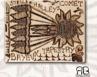 Art Fragments I-pyrography on wood, to hang