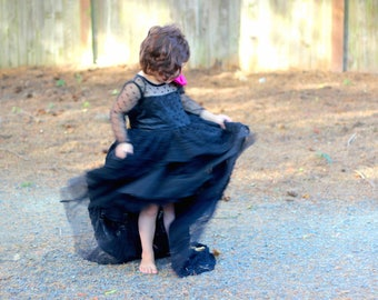 Black Flower Girl Couture Dress| Olivia Dress
