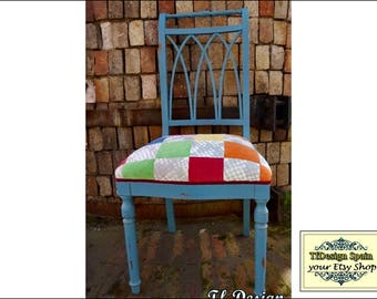 Multicolored chair, Vintage Blue Oak patchwork Chair, studio, bedroom chair, upholstered, original wood chair, Oak Wood, Country Chic Chair