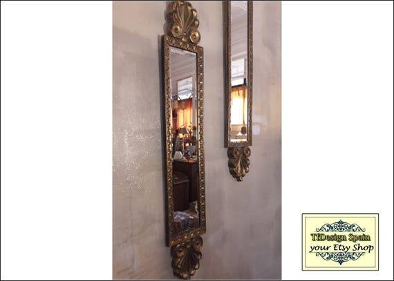 Gold mirror wall, Gold mirror wall decor, Mirror high, Gold tone wall mirror, Gold long wall mirror, Gold mirror Etsy, Wall mirror long