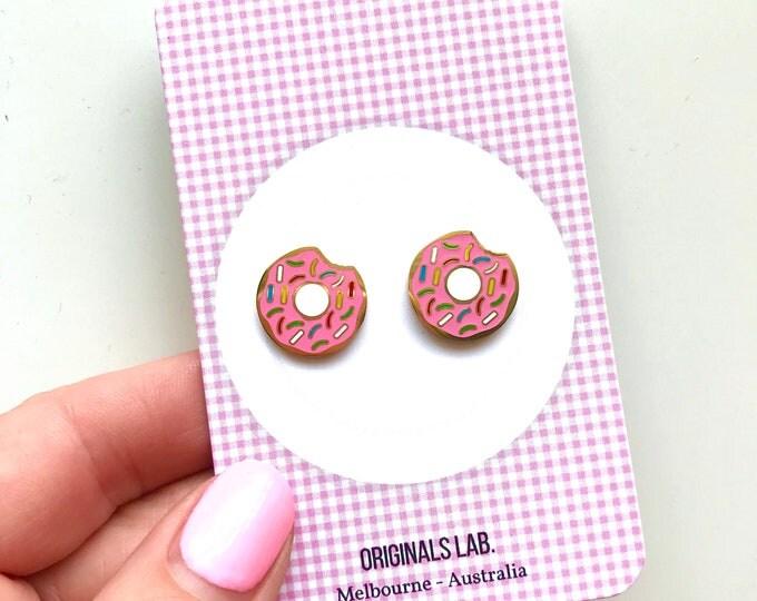 Iconic Australian Food Enamel Earrings - Pink Donuts with Rainbow Sprinkles