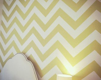 Gold Chevron zig zag seamless wallpaper pattern panel decal for nursery bedroom decor