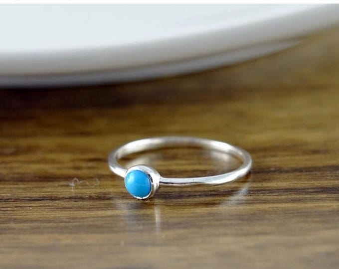 10% off SALE Sterling Silver Turquoise Ring, Turquoise Ring - Boho Ring - Boho Jewelry - Birthstone Ring - Gem Ring - Solitaire Ring - Stack