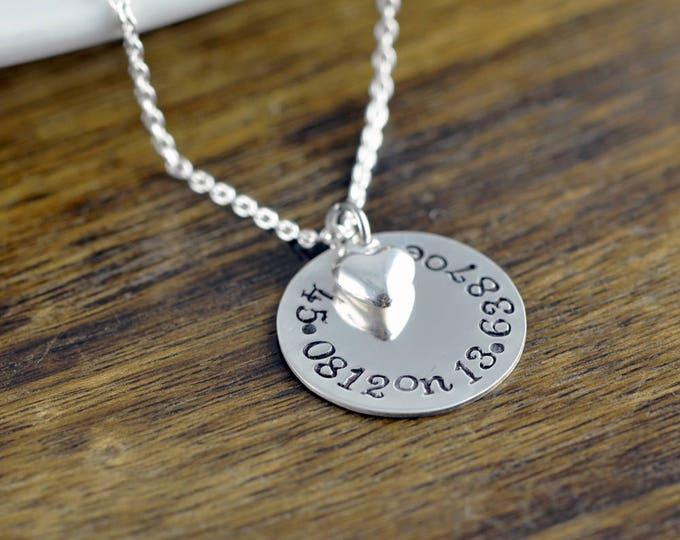Coordinate Necklace, Latitude Longitude Necklace, Custom Coordinates, Coordinate Jewelry, Hand Stamped Necklace, Coordinates Gift