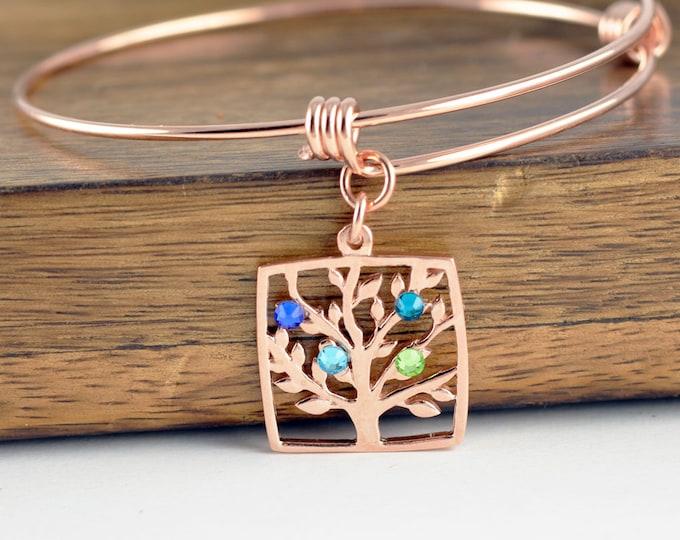 Rose Gold Family Tree Bracelet - Mother's Bracelet - Birthstone Bracelet - Birthstone Jewelry - Grandmother Bracelet - Mothers Day Gift