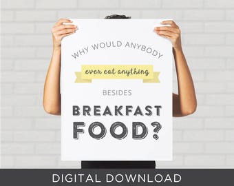Parks and Recreation Breakfast Food Funny Quote Print Ron Swanson Leslie Knope Poster DIY Printable Typography Parks and Rec Kitchen Decor