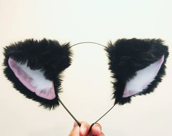 Cat ears Kitty Headwear Black/Pink Furry Animal Headband Costume Bow Bells